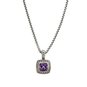 David Yurman 7mm Albion amethyst and diamonds 18""